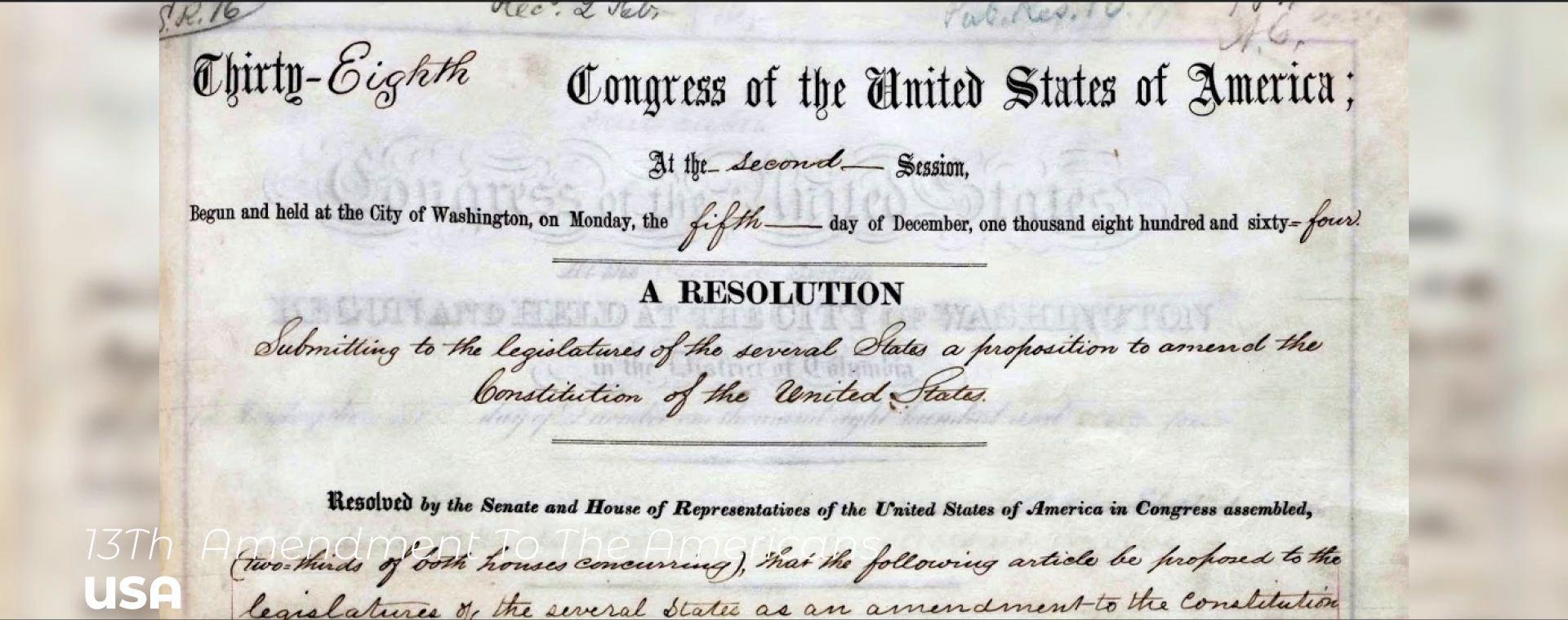 13TH  AMENDMENT TO THE AMERICANS